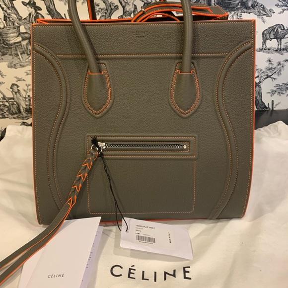 Celine Handbags - NWT Auth Celine Phantom Green Stone w/ Orange Trim